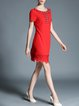 Red Plain Appliqued Casual Mini Dress