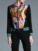 Black Printed Long Sleeve Bomber Jacket