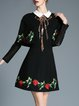 Black Embroidered Long Sleeve A-line Midi Dress