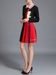 Long Sleeve Shirt Collar A-line Color-block Casual Mini Dress