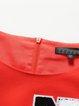 Orange Crew Neck Appliqued Color-block Plus Size Mini Dress