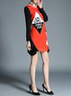 Orange Crew Neck Appliqued Color-block Plus Size Mini Dress