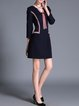 Navy Blue H-line Bow Elegant Plus Size Mini Dress