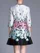 Gray Plus Size Floral Jacquard Elegant Mini Dress