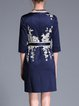 Navy Blue Plus Size Sheath 3/4 Sleeve Embroidered Mini Dress