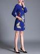 Blue Long Sleeve Appliqued Mini Dress