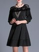 Black Stripes Paneled 3/4 Sleeve Mini Dress