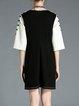 Color-block Crew Neck 3/4 Sleeve Applique Mini Dress