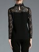 Black Applique H-line Long Sleeve Pierced Blouse
