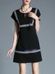 Black Plain Crew Neck Short Sleeve A-line Mini Dress