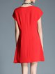 Red Casual Crew Neck Plain Mini Dress