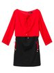 Red Color-block Long Sleeve A-line boat Neck Mini Dress