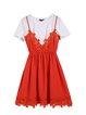 Orange Two Piece Paneled Crew Neck Short Sleeve Mini Dress