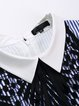Blue Shirt Collar Sleeveless Stripes Mini Dress