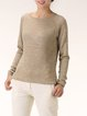 Khaki Knitted Crew Neck Long Sleeved Top