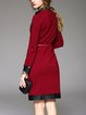 Wine Red Bodycon Elegant Paneled Stand Collar Midi Dress