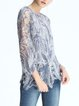 Light Blue Asymmetrical Mesh Sequins Casual Blouse with Camis