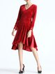 Red High Low Long Sleeve Ruffled Midi Dress