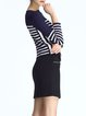 Navy Blue Long Sleeve Two Piece Stripes Mini Dress
