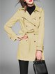 Khaki Plain Casual H-line Lapel Trench Coat