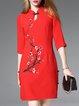 Red Sheath Half Sleeve Floral Print Slit Midi Dress