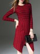 Red Stripes Asymmetrical Midi Dress