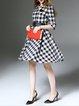White Ramie Checkered/Plaid Elegant A-line Midi Dress