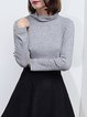 Gray Casual Knitted Cotton-blend Long Sleeved Top