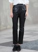 Black Paneled Polyester Casual Straight Leg Pants