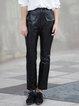 Black Paneled Polyester Casual Straight Leg Pants