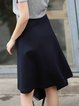 Dark Blue Wool Casual Knitted A-line Midi Skirt