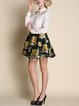 Light Apricot Long Sleeve Floral Printed Polyester Mini Dress