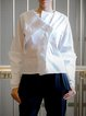 White Solid Cotton Asymmetric Long Sleeve Blouse