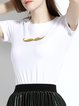 H-line Cotton Shorts Sleeve Casual Embroidered T-Shirt