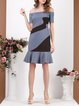 Short Sleeve Off Shoulder Color-block Midi Dress