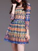 Multicolor Printed 3/4 Sleeve Boho Dress