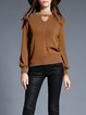 Khaki Long Sleeve Plain Shift Cutout Sweater