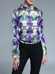 Multicolor Polyester Shirt Collar Vintage Floral Blouse