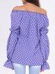 Off Shoulder Casual Shirred Cotton-blend Tops