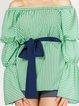Light Green Cold Shoulder Tops