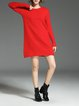 Crew Neck Ribbed Casual  Sweater Dress