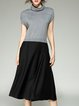 A-line Turtleneck Simple Paneled Midi Dress