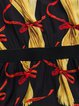 Red Stand Collar Printed 3/4 Sleeve  Paneled Mini Dress