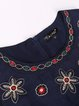 Sleeveless Crew Neck Vintage Floral-embroidered Mini Dress
