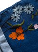 Blue Denim Casual Floral-embroidered Shorts