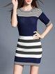 Navy Blue Two Piece Stripes Half Sleeve Bodycon Sweater Dress