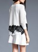 Two Piece Guipure Lace Knitted Long Sleeve Casual Sweater Dress
