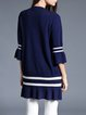 Navy Blue Bell Sleeve Ruffled Shift Stripes Cardigan