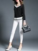 Black Casual Knitted Color-block Stripes V Neck Sweater
