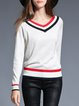 White V Neck Stripes Knitted Long Sleeve Color-block Sweater